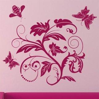 Samolepka na zeď Květiny s motýly 011 - 71x60 cm