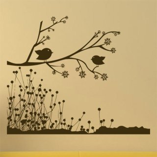 Samolepka Větev s ptáky 004 - 122x100 cm