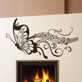 Nálepka na zeď Motýl s notami 001 - 180x100 cm