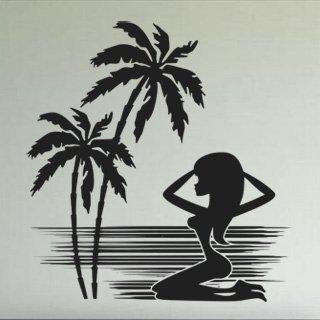 Samolepka na zeď Kráska na pláži 001 - 80x84 cm
