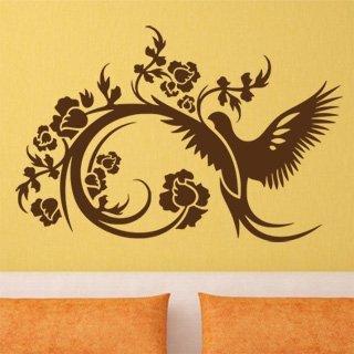 Nálepka na zeď Větev s ptáky 003 - 183x120 cm