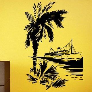 Nálepka na zeď Loď a palma 001 - 120x180 cm