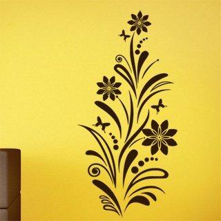 Samolepící dekorace Květiny s motýly 006 - 100x207 cm