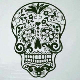 Samolepka na zeď Květinová lebka 001 - 60x81 cm