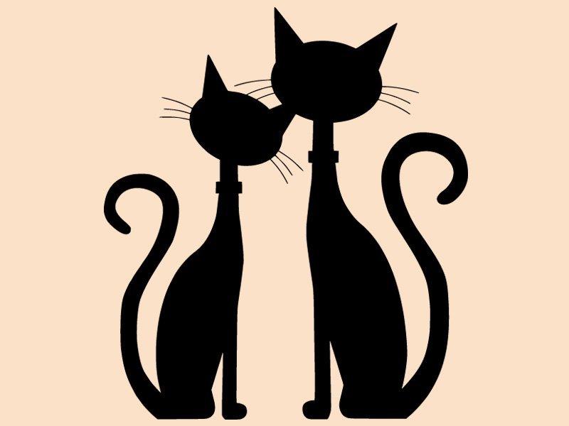 Samolepka na stěnu Dvě kočky 0449 - 120x136 cm