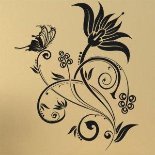 Samolepka na zeď Květiny s motýly 019 - 80x96 cm