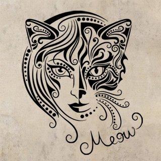 Samolepka Kočičí žena 0470 - 100x120 cm