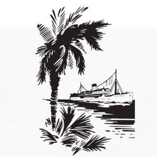 Samolepící dekorace Loď a palma 001 - 100x150 cm