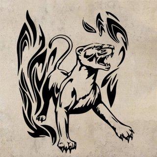 Samolepka Tygr s plameny 002 - 80x99 cm
