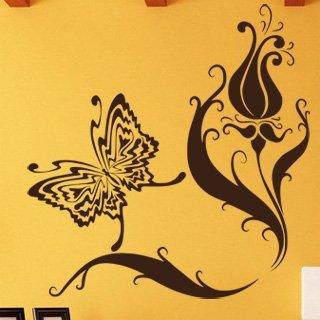 Samolepka Květiny s motýly 007 - 80x84 cm