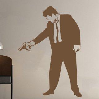 Samolepka na stěnu Muž s pistolí 001 - 120x173 cm