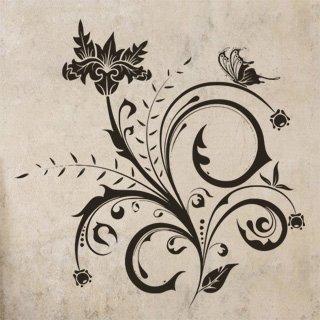 Samolepka na zeď Květiny s motýly 014 - 80x80 cm