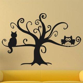 Nálepka na zeď Kočka na stromě 0442 - 182x120 cm