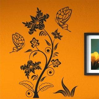 Samolepka na zeď Květiny s motýly 016 - 60x80 cm