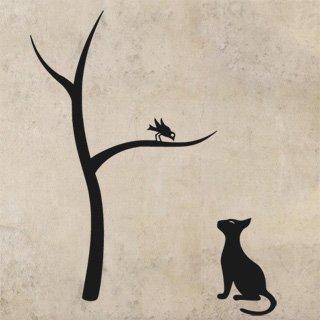 Nálepka na zeď Kočka a strom 0441 - 120x149 cm