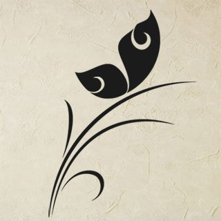 Samolepka na stěnu Rostlina s motýlem 0193 - 120x169 cm