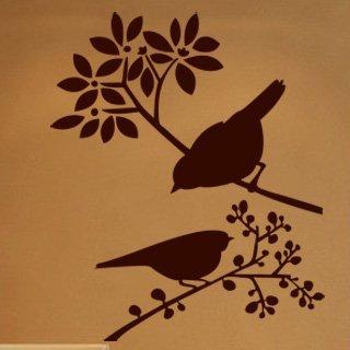 Nálepka na zeď Ptáci na větvích 001 - 120x144 cm