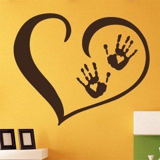Samolepka na zeď Srdce s dlaněmi 001 - 97x80 cm
