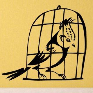 Samolepka na zeď Ptáci v kleci 002 - 68x60 cm