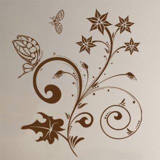 Nálepka na zeď Květiny s motýly 018 - 120x137 cm