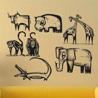 Samolepka na zeď Africká zvířata 001 - 120x94 cm
