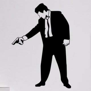 Samolepka na zeď Muž s pistolí 001 - 60x87 cm