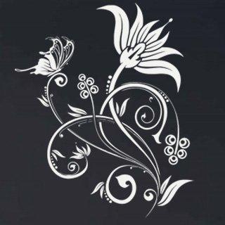 Samolepící dekorace Květiny s motýly 019 - 100x120 cm