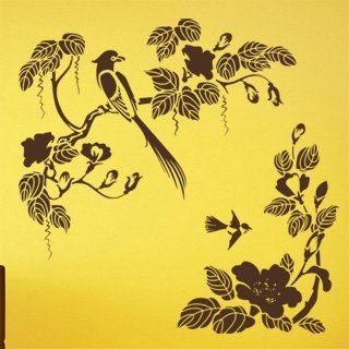 Samolepka na zeď Větev s ptáky 008 - 82x80 cm