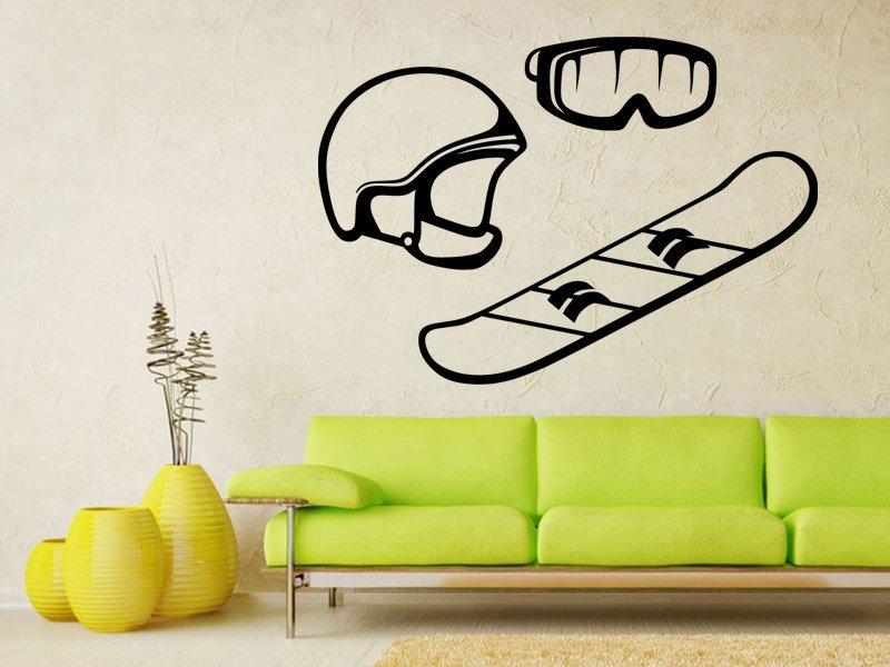 Samolepka na zeď Snowboard, helma a brýle 0973