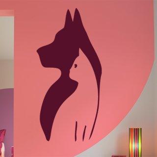 Samolepka na zeď Kočka a pes 001 - 60x123 cm