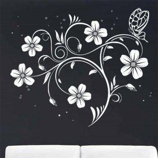 Samolepka na zeď Květiny s motýly 017 - 70x60 cm