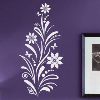 Samolepka na zeď Květiny s motýly 006 - 60x124 cm