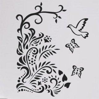 Samolepka na zeď Větev s ptáky 005 - 60x78 cm