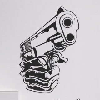 Samolepka na zeď Pistole 001 - 60x86 cm