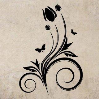 Samolepící dekorace Květiny s motýly 021 - 120x172 cm