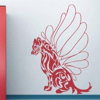 Samolepka na zeď Kočka s křídly 001 - 82x120 cm