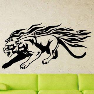Nálepka na zeď Tygr s plameny 005 - 237x120 cm