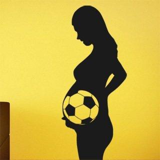 Nálepka na zeď Těhotná s fotbalistou 0574 - 100x239 cm
