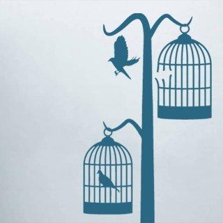 Samolepka na zeď Ptáci v kleci 001 - 57x120 cm