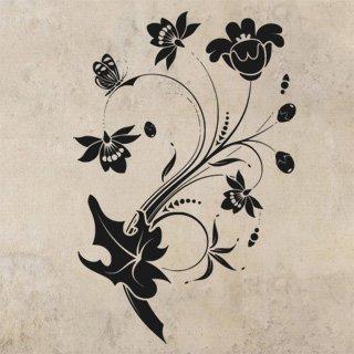 Nálepka na zeď Květiny s motýly 013 - 120x180 cm