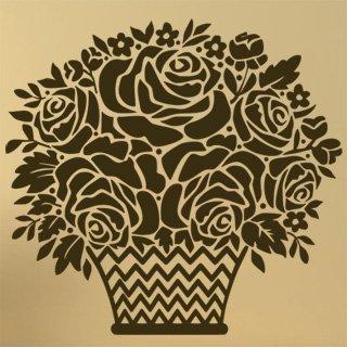 Samolepící dekorace Košík s růžemi 001 - 107x100 cm