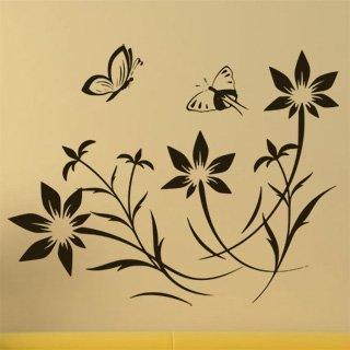 Samolepka na stěnu Květiny s motýly 008 - 152x120 cm