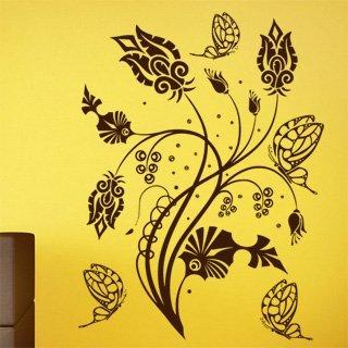 Samolepka na zeď Květiny s motýly 015 - 60x81 cm