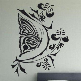 Samolepka na zeď Květiny s motýly 004 - 60x77 cm