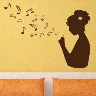 Samolepka na zeď Dívka s notami 001 - 80x60 cm