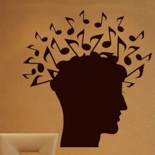 Samolepící dekorace Hlava s notami 001 - 100x106 cm