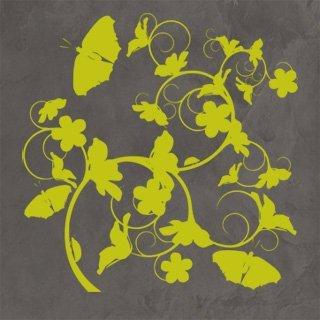 Samolepka na zeď Květiny s motýly 020 - 80x82 cm