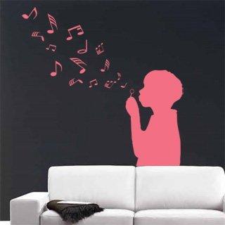 Samolepka na zeď Dítě s bublifukem 002 - 60x60 cm