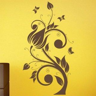 Nálepka na zeď Květiny s motýly 022 - 100x181 cm