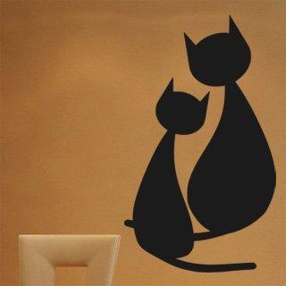Samolepka na stěnu Dvě kočky 0433 - 120x205 cm